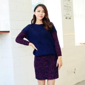 2014秋冬新款韩版拼接撞色套头宽松毛衣包臀半身裙两件套套装短裙-